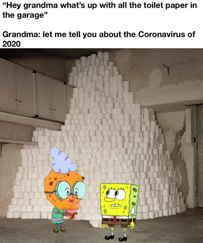 Meme: Sponge Bob next to a big pile of toilet paper