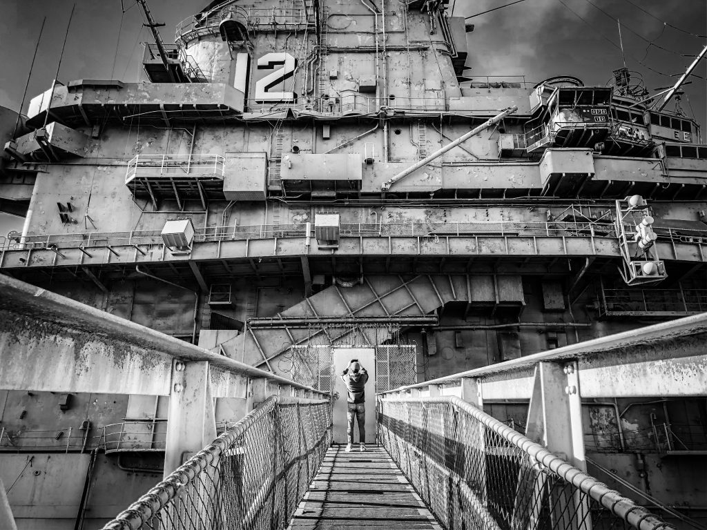 Black and white photo of aircraft carrier USS Hornet