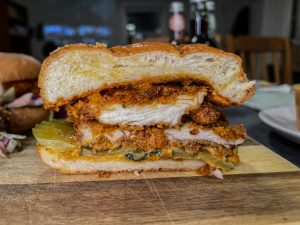 El Pollo Picante fried chicken sandwich cutaway