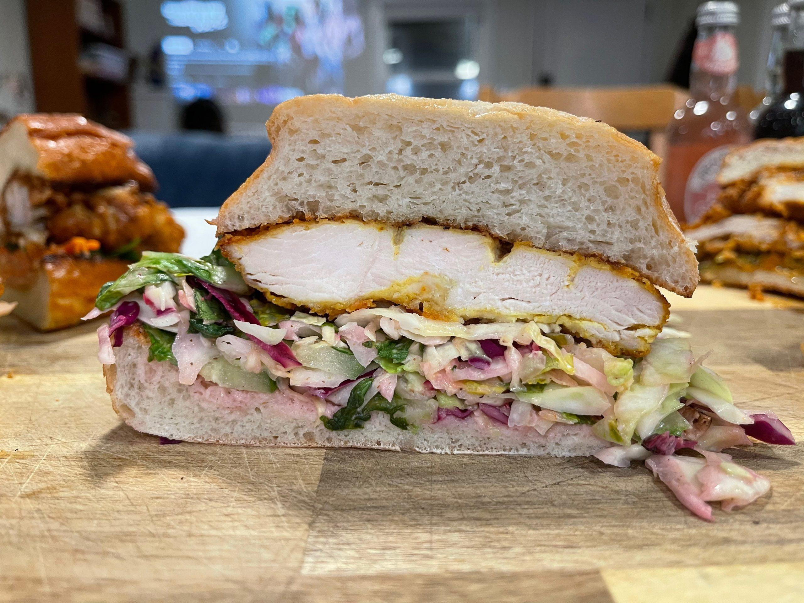 Barbarian fried chicken sandwich cutaway