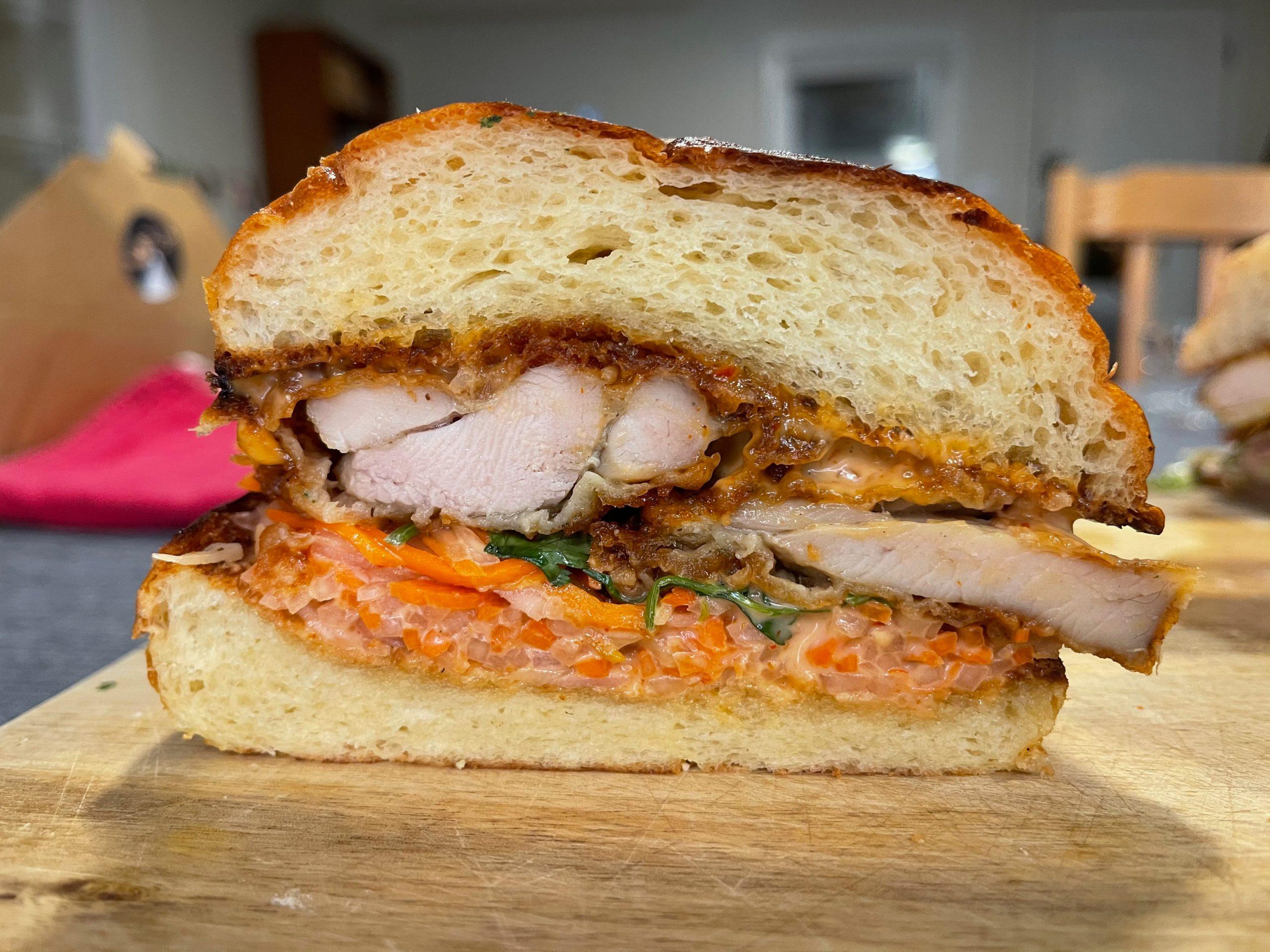 Southside Station fried chicken sandwich cutaway